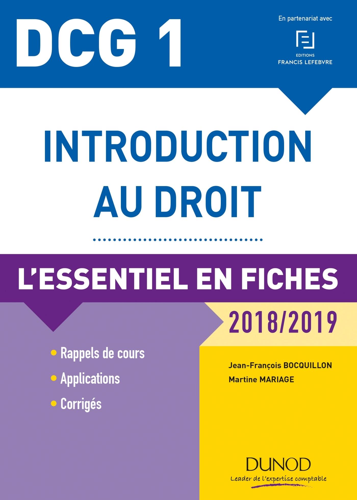 30c96c1b2ef DCG 1 - Introduction au droit - 2018 2019 - 9e édition. L essentiel en  fiches