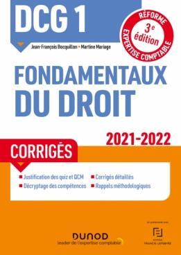 DCG 1 Fondamentaux du droit - Corrigés - 2021/2022
