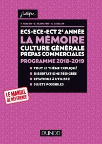 ECS-ECE-ECT 2e année - La mémoire - Culture générale Prépas commerciales - Programme 2018-2019