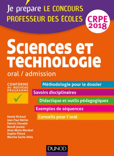 Sciences et technologie - Professeur des écoles - Oral, admission - CRPE 2018