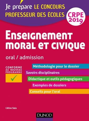 Enseignement moral et civique - Oral, admission - CRPE 2019