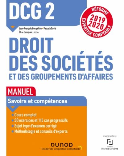 DCG 2 Droit des sociétés et des groupements d'affaires - Manuel - Réf 19/20