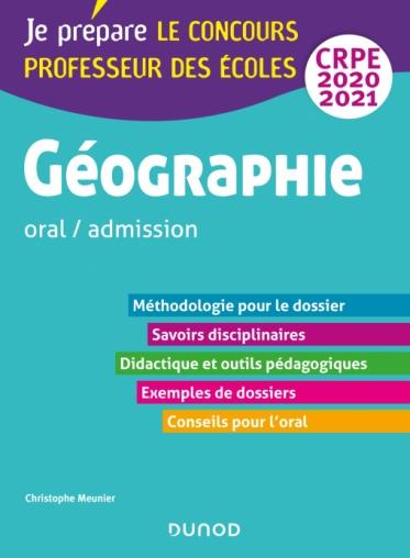 Géographie - Professeur des écoles - oral / admission - CRPE 2020-2021