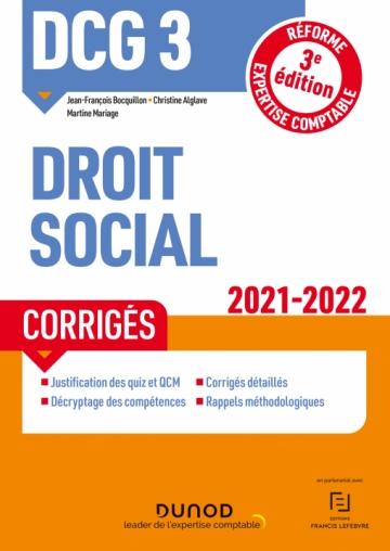 DCG 3 Droit social - Corrigés - 2021-2022