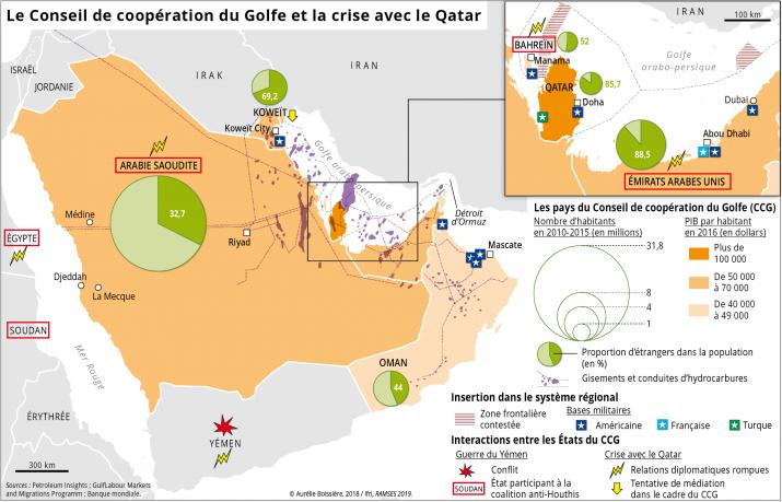 Ramses 2019 : carte conseil de cooperation du golfe et la crise avec le Qatar