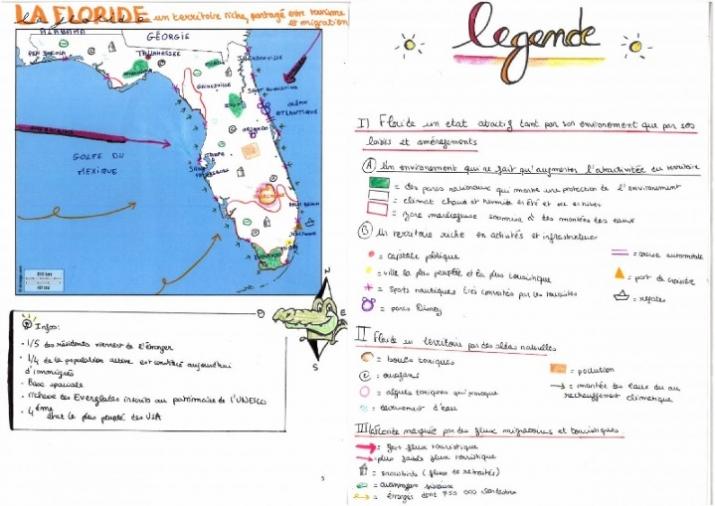 Exemple d'une carte réalisée à partir d'un texte sur la Floride par un binôme de Saumur