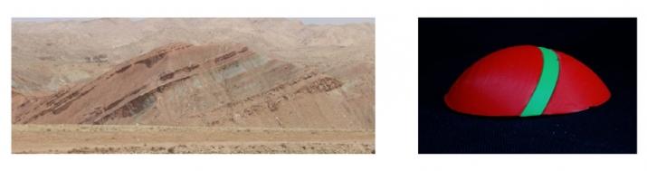 Fig. 2 : photo de terrain et modèle imprimé en 3D représentant une topographie de colline
