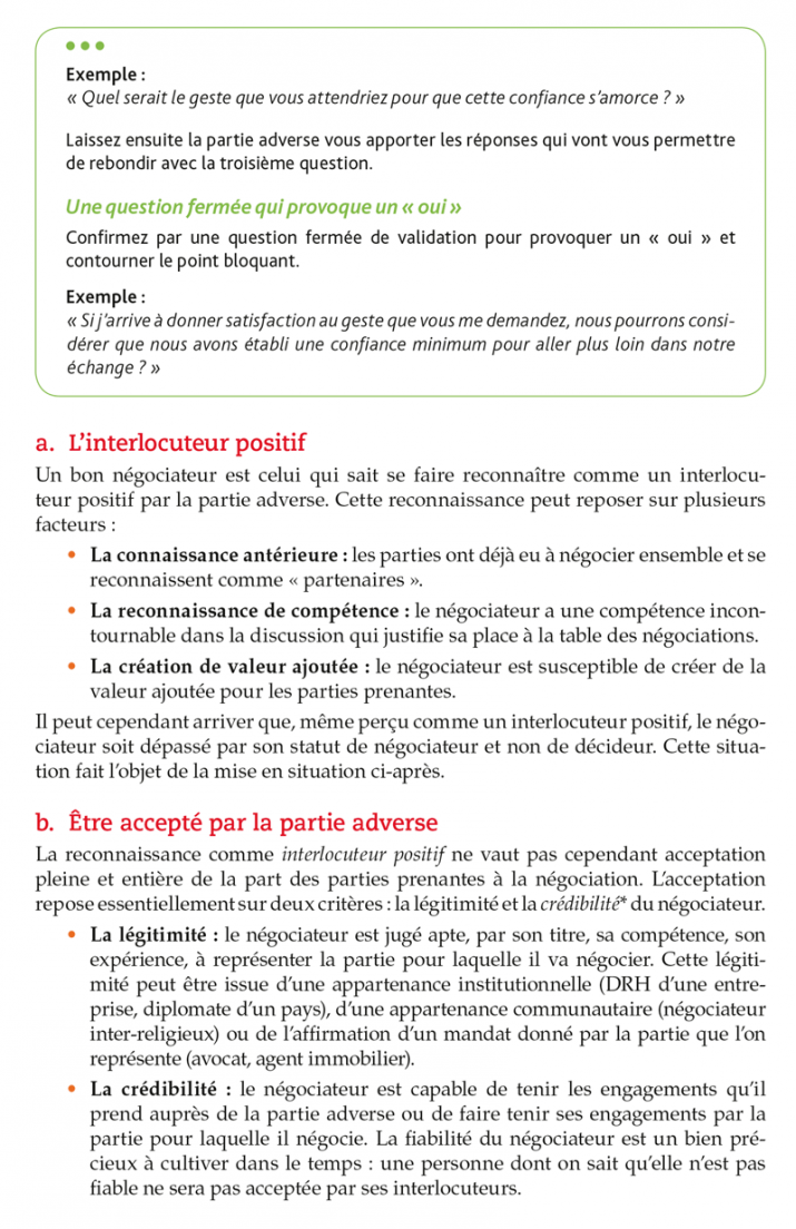 Extraits du Négociator : être légitime dans la négociation P39